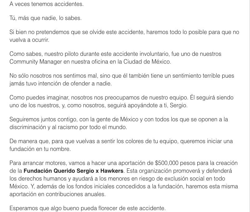 Tras 'accidente', Hawkers ofrece crear fundación 'Checo' Pérez