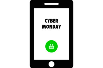 Smart phone shows text Cyber Monday. Cyber Monday banner. Design template with text Cyber Monday. Cyber Monday vector illustration.