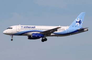 MIAMI FL - FEBRUARY 16: An Interjet Sukhoi Superjet 100 landing on February 16 2016 in Miami FL. Interjet is a Mexican low-cost airline based in Toluca.