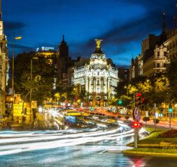 MADRID SPAIN - JULY 11: Metropolis hotel in Madrid in a beautiful summer night on July 11 2014 in Madrid Spain