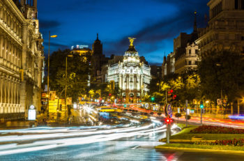 MADRID SPAIN - JULY 11: Metropolis hotel in Madrid in a beautiful summer night on July 11 2014 in Madrid Spain