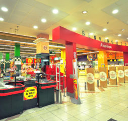 BARCELONA SPAIN - DECEMBER 19: Alcampo supermarket in Diagolal shopping centre Barcelona on December 19 2014. Alcampo is a spanish division of the french Auchan retail group.
