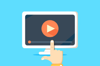 Online video concept. Internet video illustration. Distance training videos. Online learning design. Video conference and webinar image. Study using video online. Streaming video.