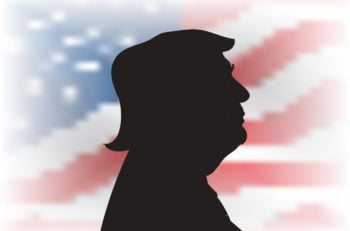 29 OCT, 2016, USA: Donald Trump profile portrait silhouette on the US flag background. 45th US President Donald Trump.