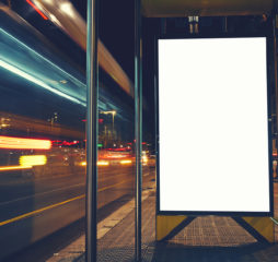 Illuminated blank billboard with copy space for your text messag