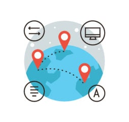 Thin line icon with flat design element of global connection connect world global transfer of information travel around world mapping globalization. Modern style logo vector illustration concept.