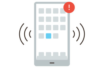 Thin line icon with flat design element of mobile communication smartphone apps alert notification alarm signal phone message. Modern style logo vector illustration concept.