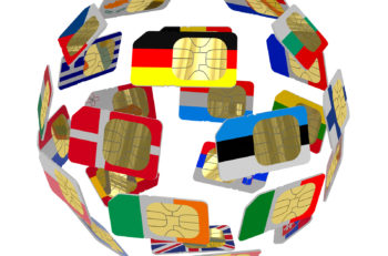 SIM cards in the form of flags of of European Union forming the globe and isolated on white background
