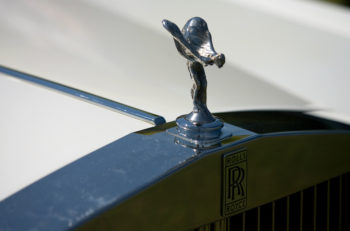June 5, 2011. The front grill and hood ornament of a Rolls Royce luxury car on display at the Fleetwood Country Cruise In car show.