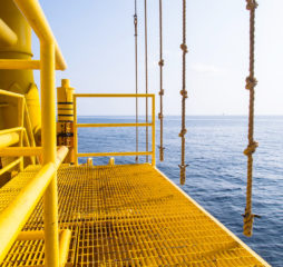 Good weather in offshore oil and gas industry.Oil and gas platform in the gulf or the sea, The world energy, Offshore oil and rig construction.