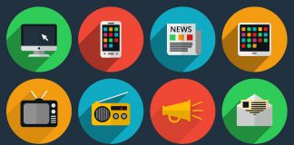 Media and information channels icons with long shadows