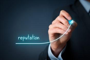 Corporate reputation improvement concept. Businessman (o PR specialist) plan to improve reputation of his company.