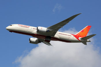 LONDON - AUGUST 28: An Air India Boeing 787 taking off on August 28 2015 in London. Air India is the flag carrier airline of India headquartered in New Delhi.