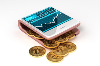 Concept Of Virtual Wallet And Bitcoins. Gold Bitcoins Spill Out Of The Pink Curved Smartphone. The Screen Shows A Graph Of The Bitcoin Price Chart And Other Currencies. 3D Illustration.