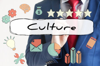 Culture drawn on virtual board by businessman - indicates corporate culture