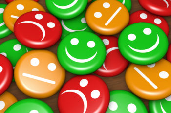 Business quality service customer feedback rating and survey with happy and not smiling face emoticon symbol and icon on badges button.