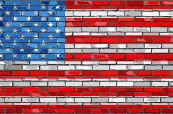 Flag of USA - Illustration,  flag of the United States of America on a brick wall, USA flag on brick textured background,  Flag of USA painted on brick wall, Flag of United States of America in brick style