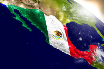 Mexico With Flag In Rising Sun