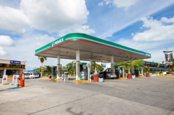 Cancun Mexico - 8 February 2016: Pemex gasoline station at downtown