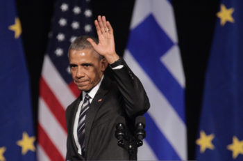 Athens Greece Nov 16 2016:U.S. President Barack Obama waves to the crowd as he delivers a speech at the new opera of Athens on Wednesday