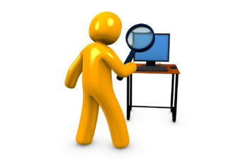 3d image conceptual Search examine investigate on a white background
