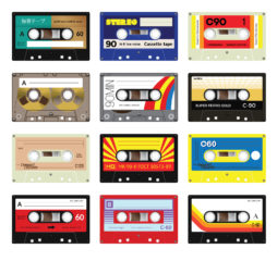 "Retro plastic audio cassette music cassette cassette tape. Isolated on white background. Realistic illustration of old technology. Vintage tape. Signage in Japanese ""Audio cassette tape"" in Russian - model number and in German - ""Unrecorded. Made by Germa"