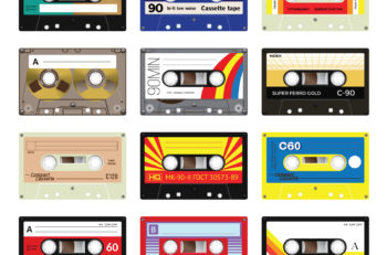 """Retro plastic audio cassette music cassette cassette tape. Isolated on white background. Realistic illustration of old technology. Vintage tape. Signage in Japanese """"Audio cassette tape"""" in Russian - model number and in German - """"Unrecorded. Made by Germa"""