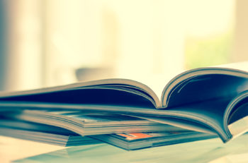 close up stacking of magazine with extremely DOF , vintage color tone