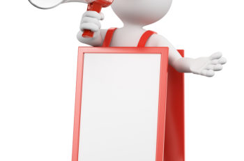 3d white people. Blank sandwich board man with a megaphone. Isolated white background.