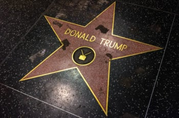 Los Angeles USA - January 8 2017: Donald Trump Star vandalized at Walk of Fame on Hollywood Boulevard.