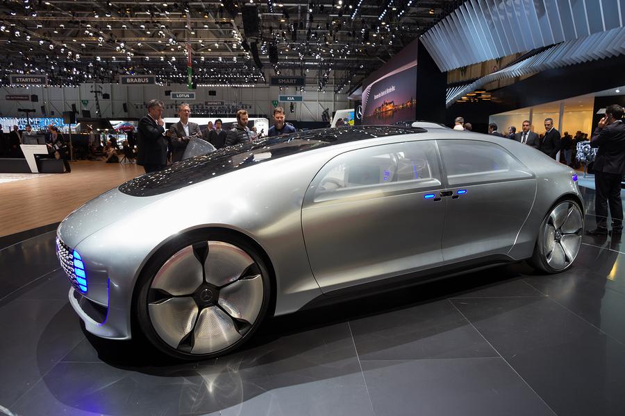 GENEVA SWITZERLAND - MARCH 1 2016: Mercedes Benz autonomous concept car at the 86th International Geneva Motor Show in Palexpo Geneva.