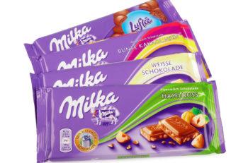 PULA, CROATIA - MAY 1, 2016: Studio shot of a Swiss Milka Chocolate manufactured by Mondelez International.