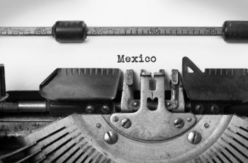 Inscription made by vintage typewriter country Mexico