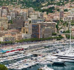 MONACO, MONACO - JUNE 17, 2015: View to the buildings and marina of Monte Carlo from the viewpoint at the Prince's Palace of Monaco (Monaco - Ville) in Monaco, Monaco.