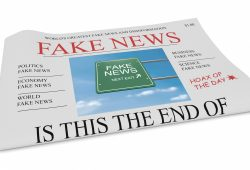 Fake News US Concept: Newspaper Front Page 3d illustration on white background