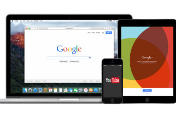 Varna Bulgaria - February 02 2015: Google products multi devices set with web Google search on Apple Macbook Pro YouTube app on iPhone 5s and Google Plus on iPad Air2. Isolated on white background.