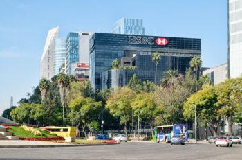 MEXICO CITY,MEXICO - DECEMBER 27,2016 : Banks, office buildings and modern skyscrapers at Paseo de la Reforma in Mexico City