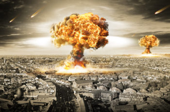 Nuclear war / atomic bombs illustration with multiple explosions