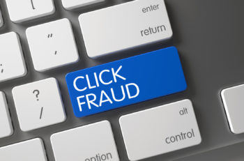 Click Fraud Concept Modern Keyboard with Click Fraud on Blue Enter Button Background, Selected Focus. 3D Render.