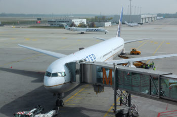 MUNICH GERMANY - APRIL 1 2014: United Airlines Boeing 777 at Munich International Airport in Germany. United Airlines is the largest airline in the world by destinations served with 374 airports.