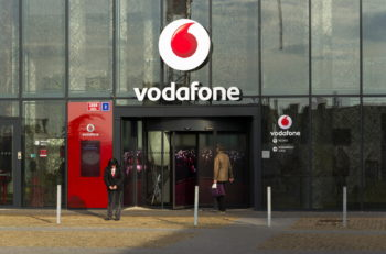 PRAGUE CZECH REPUBLIC - NOVEMBER 7: Vodafone telecommunications company logo on Czech headquarters on November 7 2016 in Prague Czech republic. Vodafone India will launch 4G services across eight additional circles and 2400 towns by March 2017.