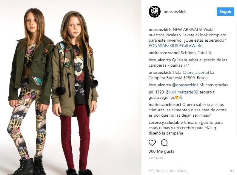 La marca de ropa Ona Saez acusada de fomentar la anorexia infantil