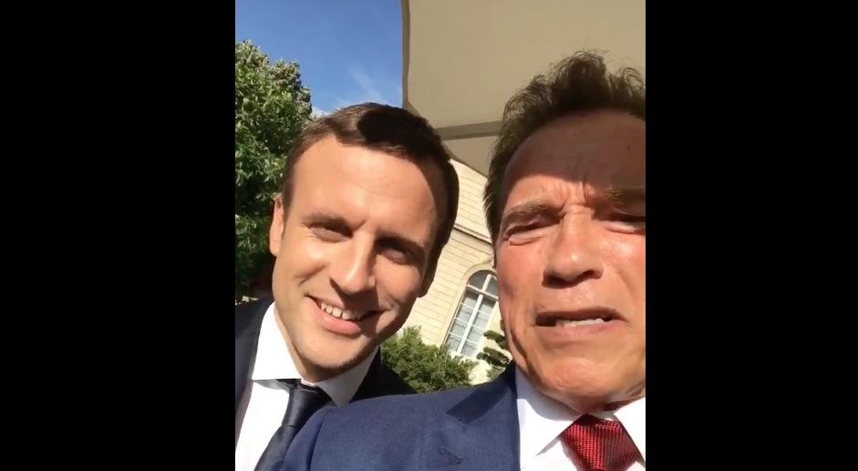 Macron y Schwarzenegger hablan sobre cambio climático