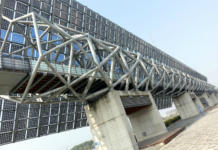 Paneles solares del National Museum of Taiwan History in Tainan City.