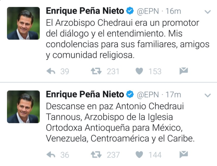 Peña Nieto asistió a las exequias de Antonio Chedraui