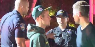 Justin Bieber con la Policía. Captura de video.