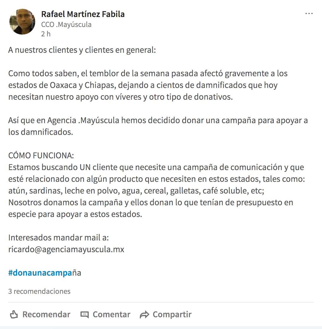 Esta agencia mexicana donará una campaña para ayudar a los damnificados del sismo