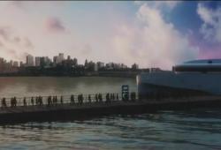 Desde el muelle, un barco traslada a los pasajeros hasta la plataforma de lanzamiento del BFR.