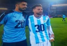 Suárez y Messi antes de jugar en Montevideo. Captura de pantalla.