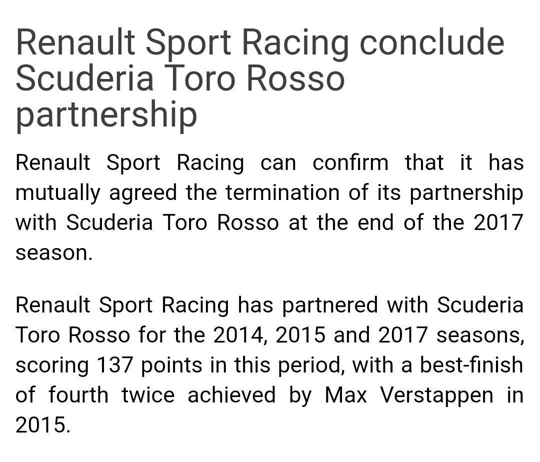 Renault confirmó que sale de Toro Rosso con este comunicado